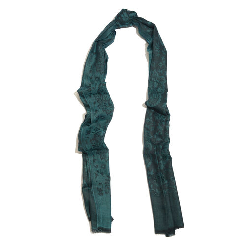 88% Merino Wool and 12% Silk Paisley and Leaf Pattern Green and Black Colour Scarf (Size 200x70 Cm)
