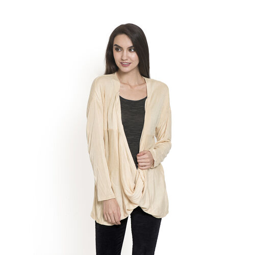 Beige Colour Long Neck Pattern Cardigan (Size Medium / Large)