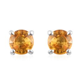 Yellow Sapphire Stud Earrings (with Push Back) in Sterling Silver