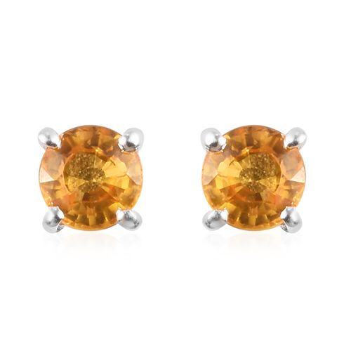 Golden Sapphire Stud Earrings (with Push Back) in Sterling Silver