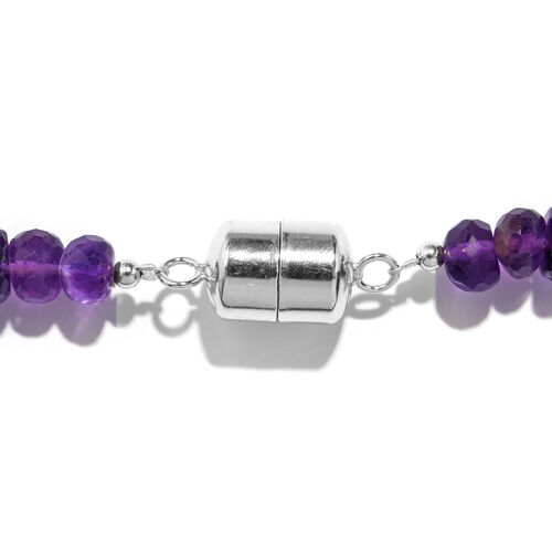 Amethyst (Rnd 6-9mm) Beads Necklace (Size 18) with Magnetic Lock in Rhodium Plated Sterling Silver 200.000 Ct.