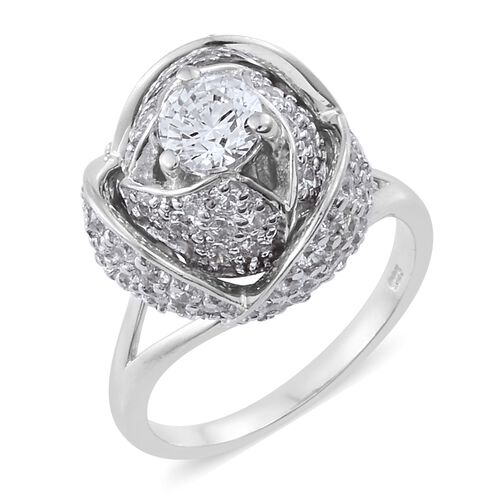 J Francis - Platinum Overlay Sterling Silver (Rnd) Rose Ring Made with SWAROVSKI ZIRCONIA, Silver wt
