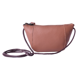 Genuine Leather Middle Size Crossbody Bag - Tan