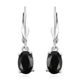 Black Sapphire Lever Back Earrings in Sterling Silver 1.25 Ct.
