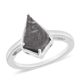 Meteorite Ring in Platinum Overlay Sterling Silver 4.25 Ct.