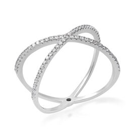 ELANZA Simulated Diamond Criss Cross Ring in Rhodium Overlay Sterling Silver