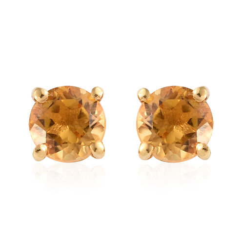 Citrine (1.75 Ct) Solitaire Earrings with Push Back and Pendant in 14K Gold Overlay Sterling Silver 1.750  Ct.