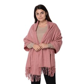 Wool Blend Stripe Pattern Winter Scarf with Tassels (Size 70x180 Cm) - Pink