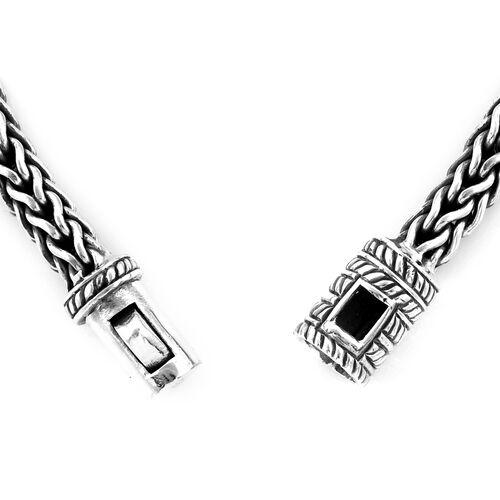 Bali Legacy Collection Boi Ploi Black Spinel (Rnd) Sterling Silver Tulang Naga Bracelet (Size 8) 5.680 Ct, Silver wt 38.98 Gms.