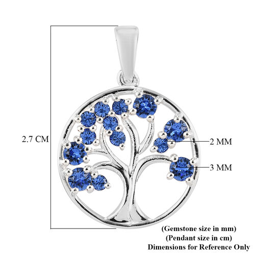 J Francis Crystal from Swarovski  Sapphire Colour Crystal Tree-of-Life Pendant in Sterling Silver