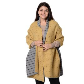 Speckled Pattern Reversible Winter Goffer Scarf (Size 65x180 Cm) - Grey and Yellow