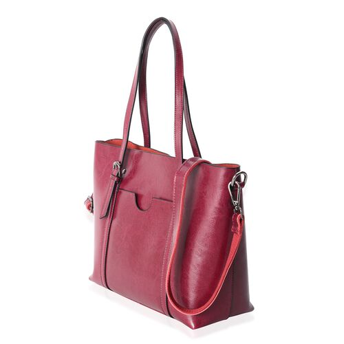 Close Out Deal 100% Genuine Leather Classic Burgundy LargeTote Bag with Removable Shoulder Strap (Size 31x27x12 Cm)
