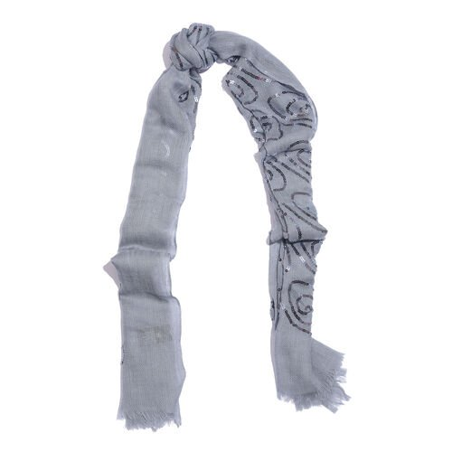 100% Merino Wool Sequins Embellished Grey Colour Scarf with Fringes (Size 170X70 Cm)