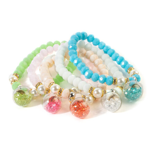 Set of 5 - Multi Colour Beads Stretchable Bracelet (Size 7) in Silver and Gold Tone