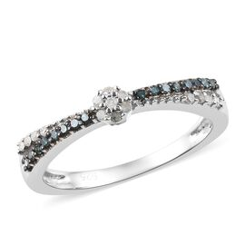 0.15 Carat Blue And White Diamond Stackable Ring in Platinum Overlay Sterling Silver
