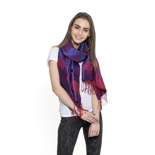 SILK MARK - 100% Superfine Silk Red and Purple Colour Peacock Printed Jacquard Jamawar Scarf with Fr