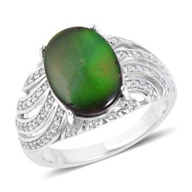 4.25 Ct Canadian Ammolite and White Zircon Swirl Design Ring in Sterling Silver 5.6 Grams