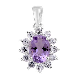 Rose De France Amethyst (Ovl), Natural Cambodian Zircon Pendant in Sterling Silver 2.50 Ct.