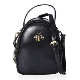 100% Genuine Leather Bee Crossbody Bag with Detachable Strap (Size 13x7x13.8 Cm) - Black