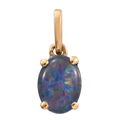 Australian Boulder Opal (Ovl) Solitaire Pendant in 14K Gold Overlay Sterling Silver 1.000 Ct.