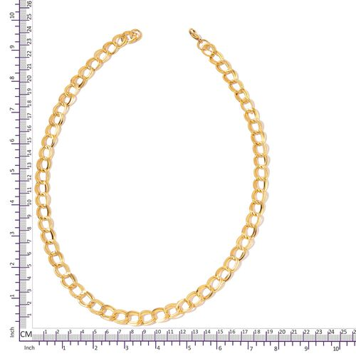 Double LInk Curb Necklace (Size 24) and Bracelet (Size 7.50) in Yellow Gold Overlay Stainless Steel