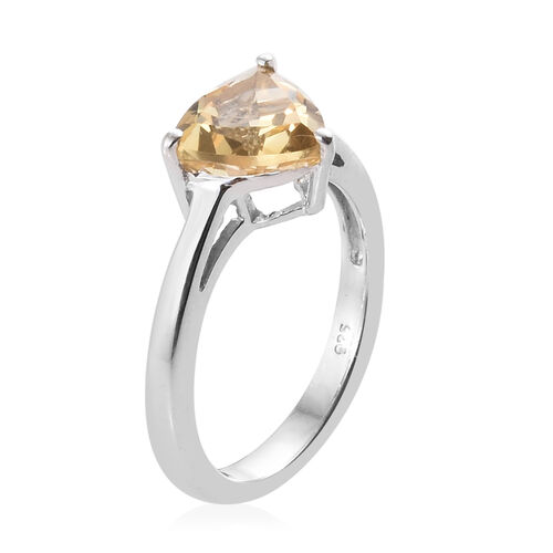 Citrine (Tri) Solitaire Ring in Platinum Overlay Sterling Silver 1.500  Ct.