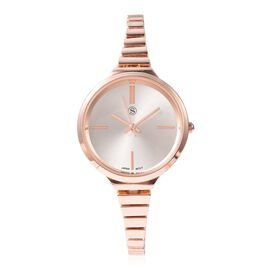 One Time Deal- Strada Japanese Movement Water Resistant Watch with Chain Strap in Rose Gold Plated -