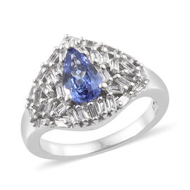 Tanzanite (Pear), White Topaz Ring (Size N) in Platinum Overlay Sterling Silver 1.500 Ct.