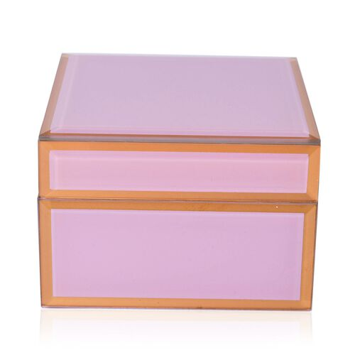 Home Decor - Pink Colour Glass Box (Size 12X12X8.5 Cm)