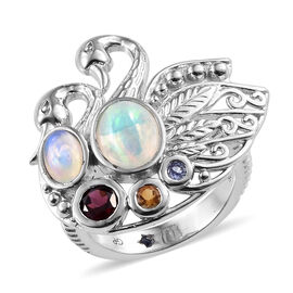 GP 1.50 Carat Ethiopian Opal and Rhodolite Garnet with Multi-Gemstones Twin Swan Ring in Platinum Pl