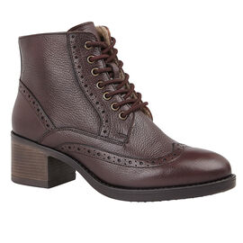 Lotus Amira Lace-Up Heeled Ladies Ankle Boots - Dark Maroon