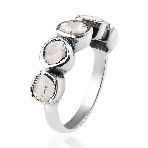 Artisan Crafted Polki Diamond Five Stone Ring in Platinum Overlay Sterling Silver 0.50 Ct.