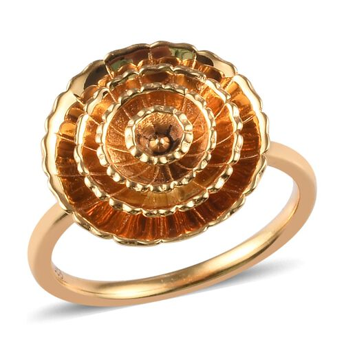 14K Gold Overlay Sterling Silver Floral Ring