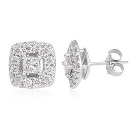 9K White Gold Diamond (I2) Stud Earrings (with Push Back) 0.750 Ct.