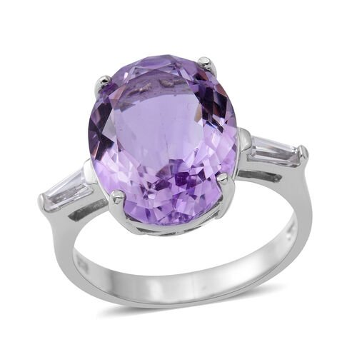 Rose De France Amethyst (Ovl 8.13 Ct), Natural White Cambodian Zircon Ring in Rhodium Plated Sterling Silver 8.630 Ct.