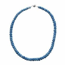 Peruvian Blue Opal Necklace (Size 18) with Magnetic Lock in Rhodium Overlay Sterling Silver 200.00 C