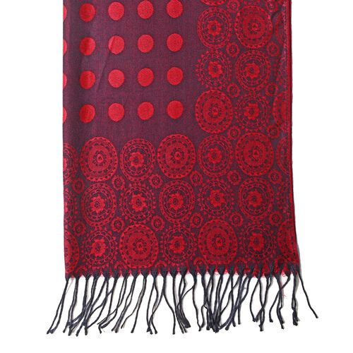 Purple and Red Colour Scarf with Dot and Small Flower Pattern (Size 180x68 Cm)