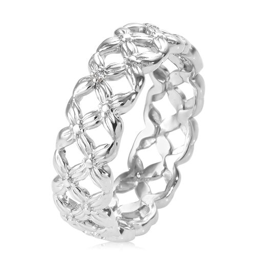 Diamond (Rnd) Band Ring in Platinum Overlay Sterling Silver