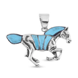 Santa Fe Collection - Turquoise Horse Pendant in Sterling Silver