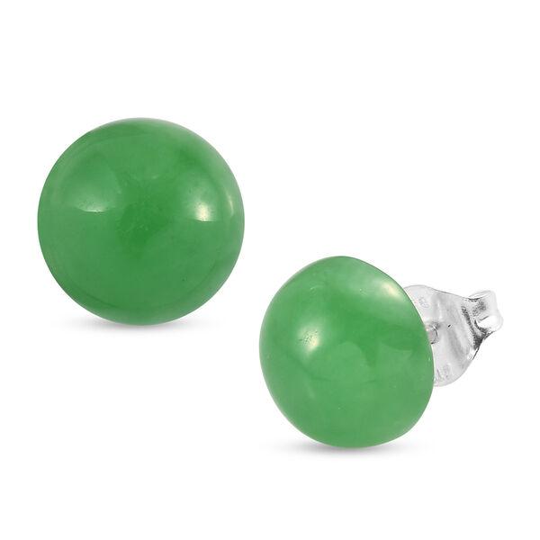 9.75 Ct Green Jade Stud Solitaire Earrings in Sterling Silver
