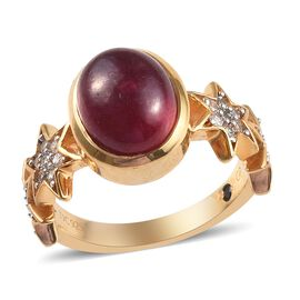 GP African Ruby (Ovl 10x8mm), Natural Cambodian Zircon and Blue Sapphire Ring in 14K Gold Overlay St