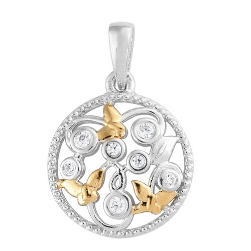 J Francis - Yellow Gold and Platinum Overlay Sterling Silver (Rnd) Pendant Made with SWAROVSKI ZIRCONIA