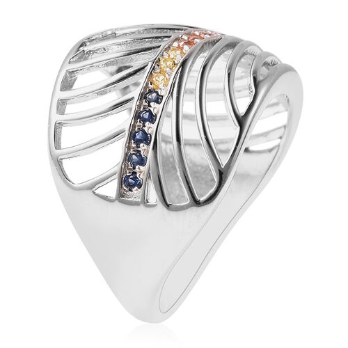 Isabella Liu Sea Rhyme Collection - Orange Sapphire, Yellow Sapphire, Madagascar Pink and Blue Sapphire Ring in Rhodium Overlay Sterling Silver