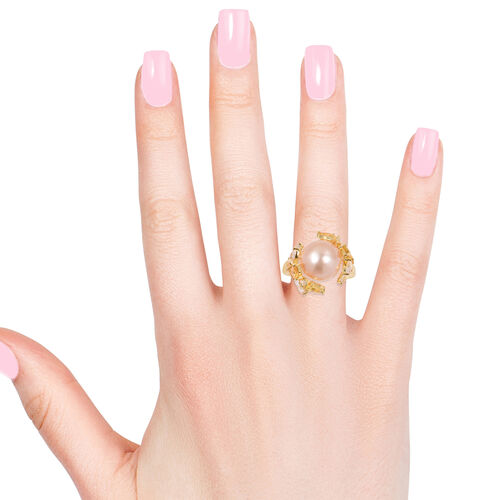 South Sea Golden Pearl (11-12 mm), Yellow Sapphire and White Topaz Ring in Yellow Gold Overlay Sterling Silver 12.860 Ct.