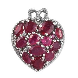 GP 3 Carat African Ruby and Multi Gemstone Heart Pendant in Platinum Plated Silver