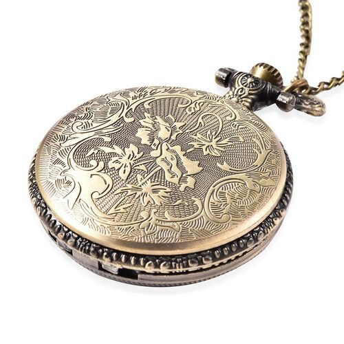 STRADA Japanese Movement Elephant Pattern Pocket Watch with Chain (Size 31) in Antique Bronze Plated