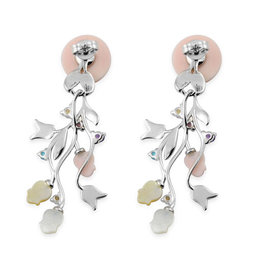 Jardin Collection - Pink Mother of Pearl, Citrine and Multi Gemstone Enamelled Floral Dangle Earrings (with Push Back) in Rhodium Overlay Sterling Silver