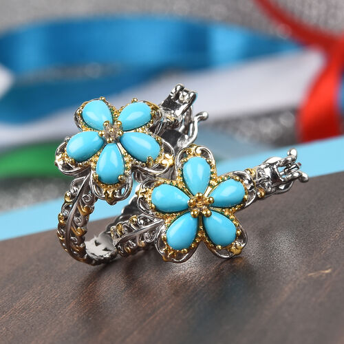 Arizona Sleeping Beauty Turquoise Floral Earrings (with Clasp) in Platinum and Yellow Gold Overlay Sterling Silver 2.25 Ct, Silver wt 6.00 Gms