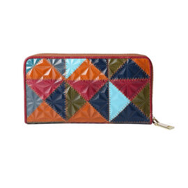 Multi Colour Genuine Leather Embossed Clutch RFID Wallet with Zipper Closure in Gold Tone (Size 19x2