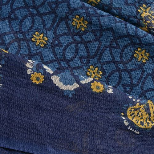 100% Cotton Navy, Yellow and Multi Colour Printed Kaftan (Free Size)